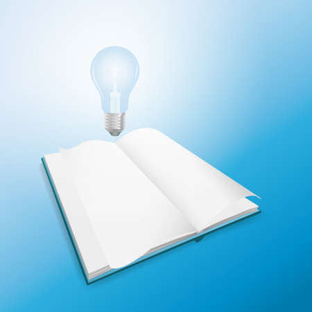 knowledge concept: Idea and knowledge concept design Light bulb on open book