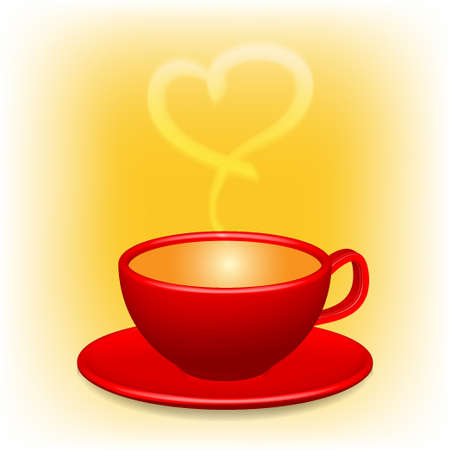 Red coffee cup with heart shaped white smoke Happy valentine s day Vector