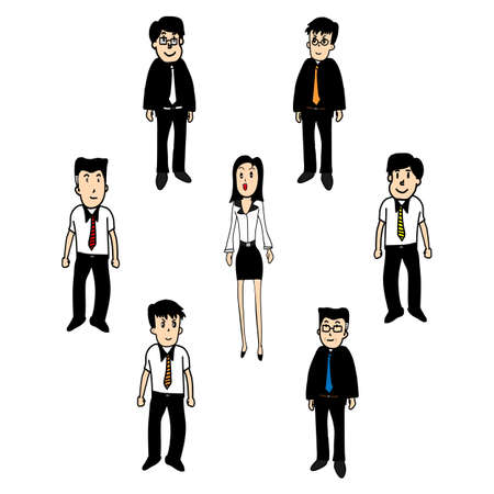 set of funny cartoon office worker in various poses Vector