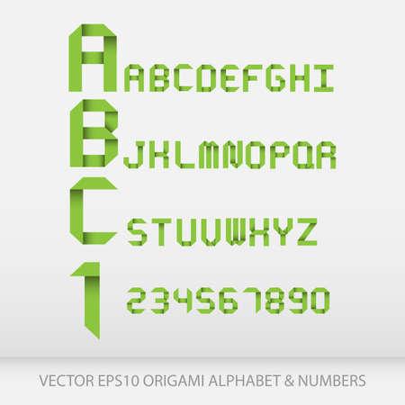 折り紙アルファベット文字と数字。ベクトル イラスト EPS10