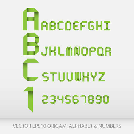 Origami alphabet letters and numbers.Vector illustration EPS10 Vector