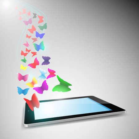 タブレット コンピューターから出て飛んで蝶。EPS10