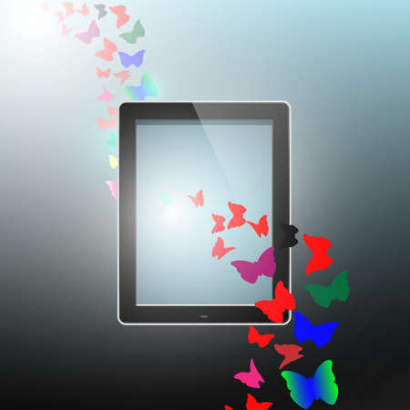 butterfly flying out from tablet computer EPS10 Vector