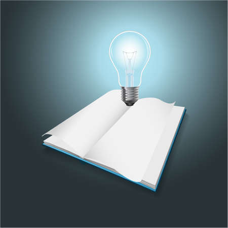 Idea and knowledge concept design Blue light bulb on open book EPS10 Vector
