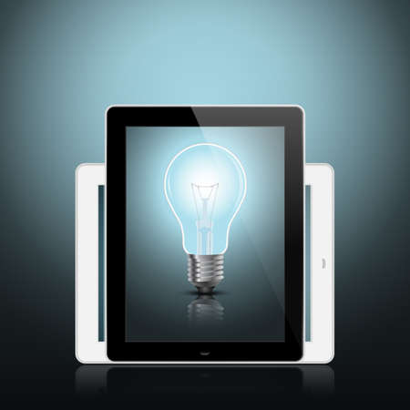 digital tablet with light bulb conceptual design EPS10 Vector