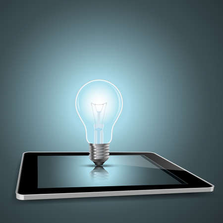 conceptual bulb: digital tablet with light bulb conceptual design EPS10 Illustration
