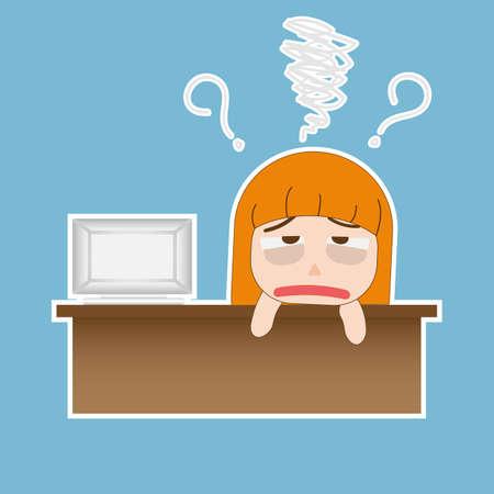 Historieta joven y bella mujer divertida business cansado del trabajo en el vector de la ilustración oficina EPS10