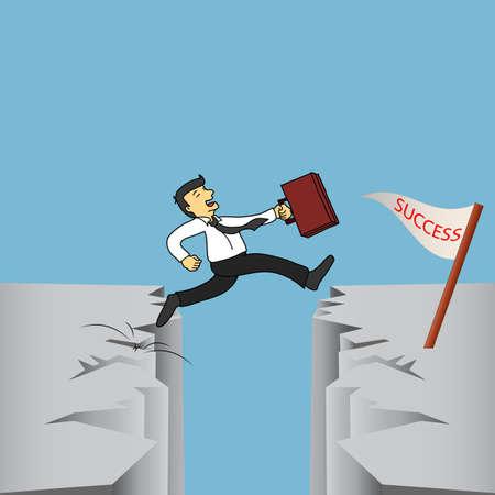 未来の成功に崖を飛び越えて絶頂リスクの高さを返す実業家