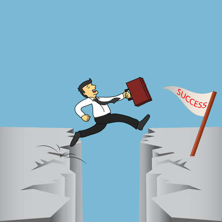 hight: Hight Risk Hight Return Businessman is jumping over a cliff to their future success
