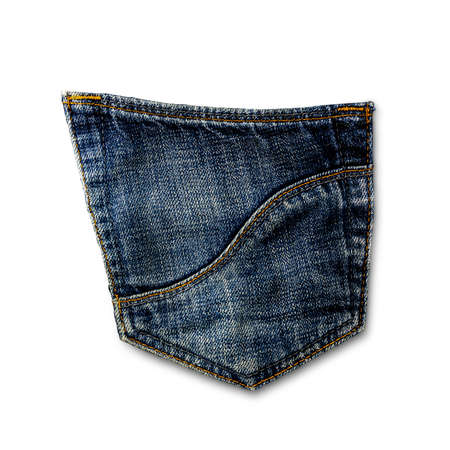 blue jeans pocket isolated on white background.