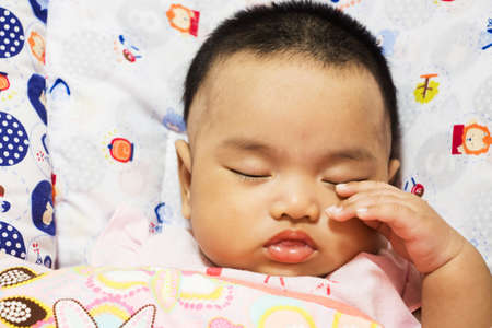 somnolent: Asian cute baby be sleepy
