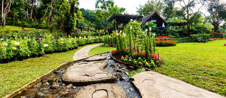 landscape garden: Panorama Landscape garden design.The path in the garden with pond in asian style