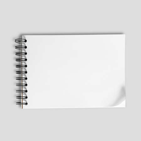 Horizontal of Sketch paper on neutral gray background. photo