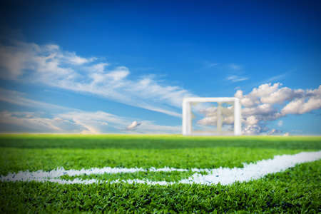 Soccer field with sky background photo
