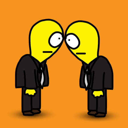 interviewer: funny cartoon eye contact concept Illustration