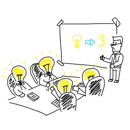 営業会議とブレーンストーミング会社ターゲットと戦略のプレゼンテーション  イラスト・ベクター素材