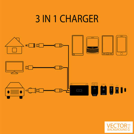 Infographic 3 in 1 charger Vector