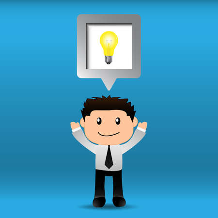 Businessman bright idea with speech bubble.EPS10 Vector