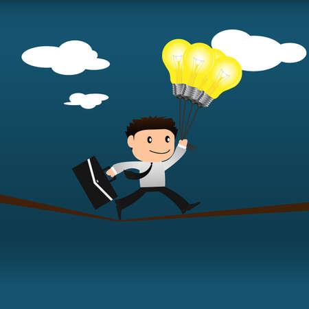 Risk concept.Businessman with light bulb is balancing on a rope  Ilustração