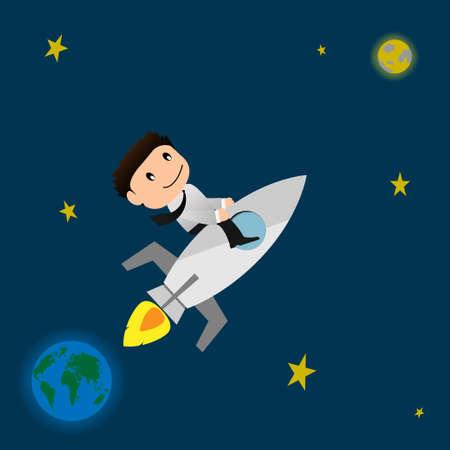 rocket launch: �xito concept.Businessman con lanzamiento de cohetes a la luna