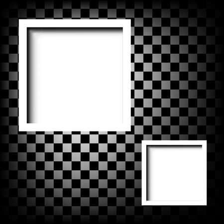 white frame on checkerboard abstract background Vector