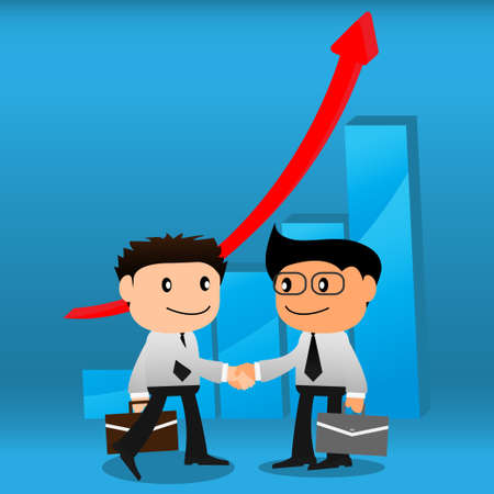 Handshake  with business growth graphs background EPS10 Vector
