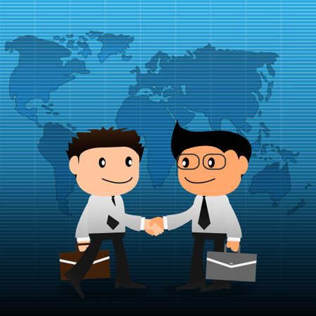 Handshake with world map background Vector