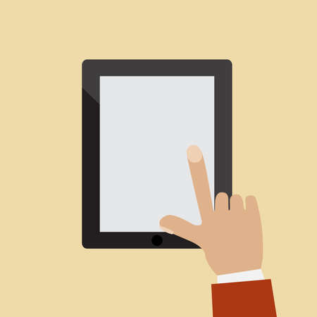 hands holding and touching on tablet pc Vector