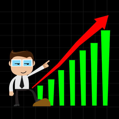 Businessman point to chart of profit Vector
