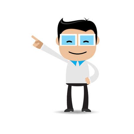 indian professional: Businessman pointing Illustration