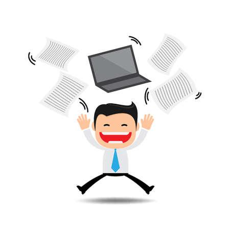 week end: Documentos de negocios lanzando feliz, emocionado acerca de algo