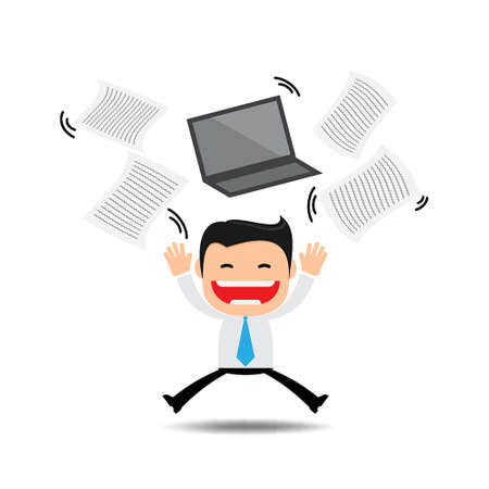 Happy businessman tossing papers,excited about something Vector