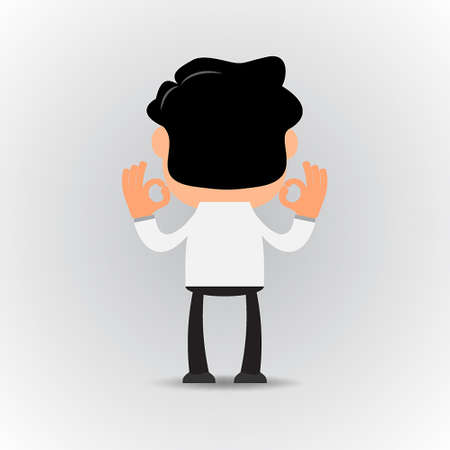 high angle view: Businessman standing back and showing OK Sign