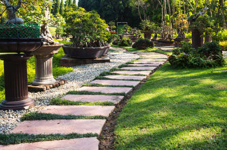 Landscaping in the garden. The path in the garden. Stock Photo