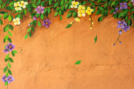 flower border on concrete wall with copy space Фото со стока