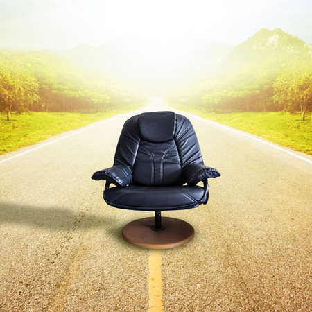 destined: Office chair on the road  for leadership. Sometimes destined to succeed, it comes with risks.