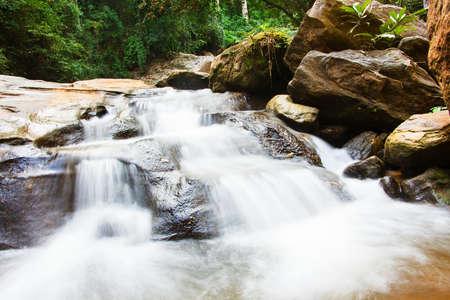 exposicion: cascada de la exposición a largo en el bosque.