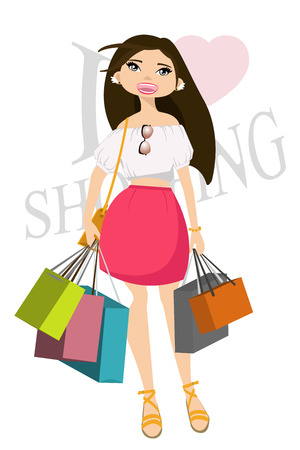 happy shopper: Happy girl with shopping bags in shop. Shopper. Sales. Funny cartoon character.