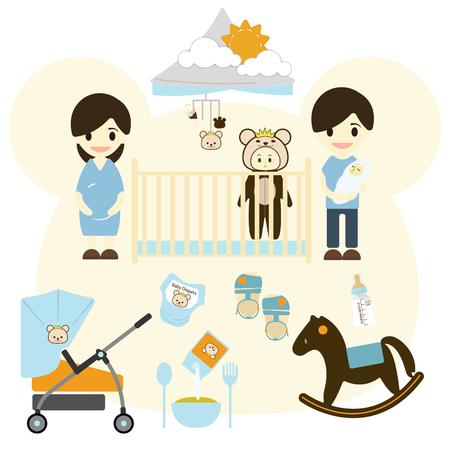 nursing bottle: Baby room with furniture. Nursery interior.Baby Stroller, Flat style illustration.