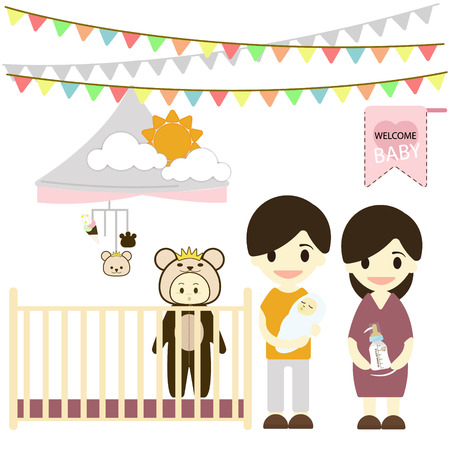 nursing bottle: Baby room with furniture. Nursery interior. Flat style illustration. Illustration