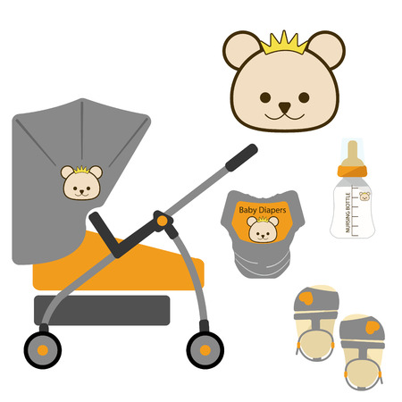 nursing bottle: Set of Pretty Stroller,Bear with Crown Symbol,Diapers and Nursing Bottle,Baby Shower