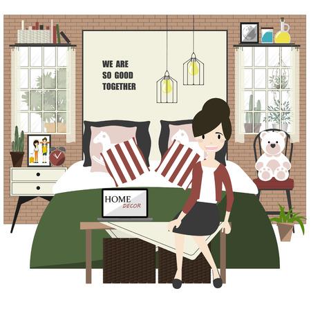 bedroom furniture: Bedroom Decorations With Furniture. Illustration