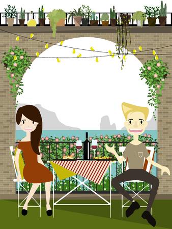 vanish: Set of romantic couple eating in restaurant . Flat design