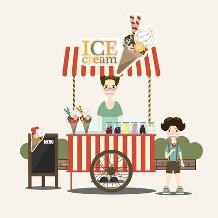 seller: Retro vector ice cream cart. Ice cream seller and children. Vector illustration.