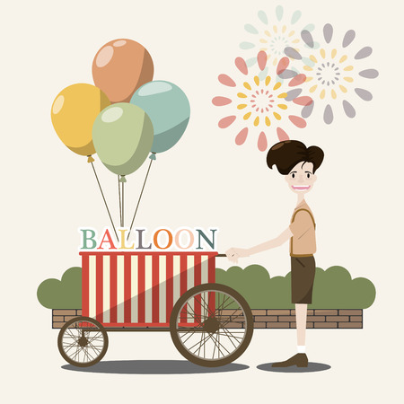 seller: Balloon seller in the street.Amusement park. Vector flat illustration