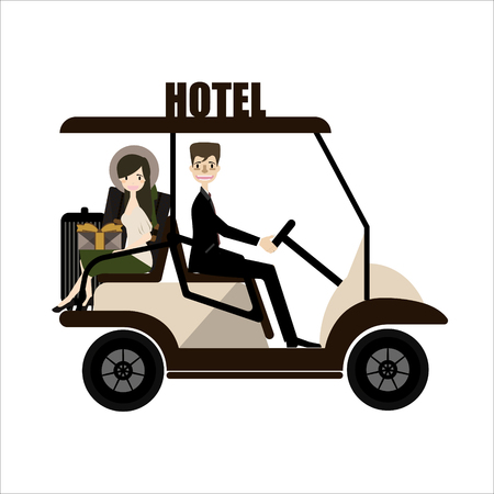Buggy voiture Dans un hotel.vector Vecteurs