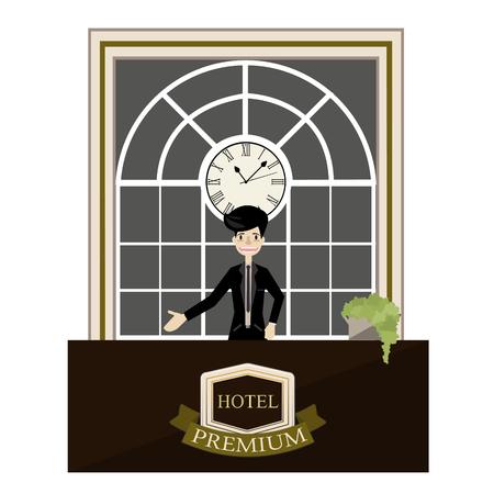 standing reception: Receptionist standing at hotel luxury reception desk cartoon vector