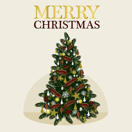 flack: Vector Decoration Christmas Tree for holiday on snow flack Background.VectorIllustration