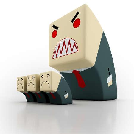 jefe enojado: Jefe enojado en el lugar de trabajo.