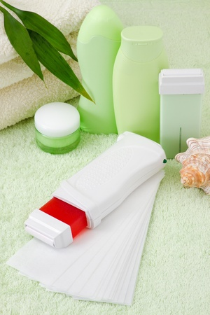 device for hair removal with wax  Stock Photo